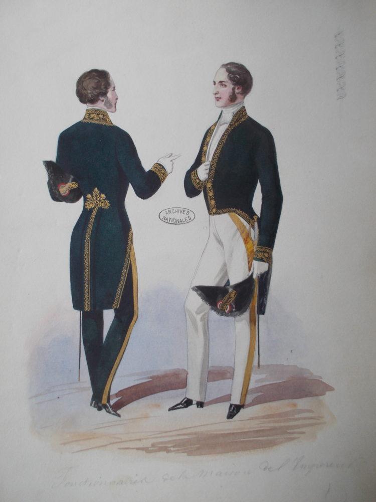 Dessin : costume des fonctionnaires de la maison de l'empereur